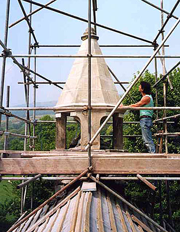 Reconstruction of bell tower in new stone