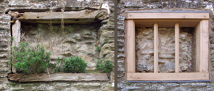 Ludlow Castle: rebuilt window before (left) and after (right)